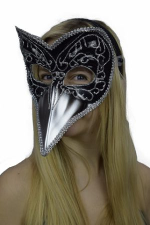 Black and Silver Long Nose Mask