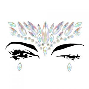 Diamante Rhinestone Face Jewels Glitter Stickers Silver
