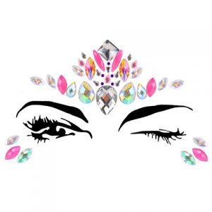 Diamante Rhinestone Face Jewels Glitter Stickers Silver Pink Orange