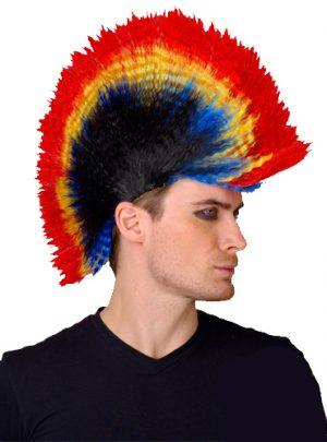 Punk Mohawk Wig - Rainbow and Black