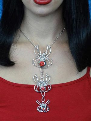 Spiders Silver Metal Necklace