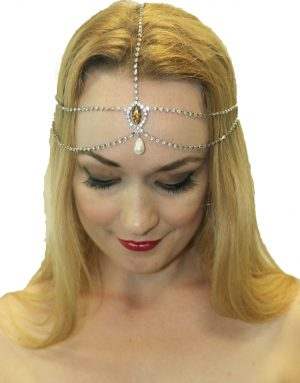 1920's Gatsby Flapper Head Chain Silver