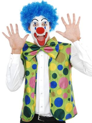 Clown Set Spotty -Vest, Jumbo Bow Tie & Nose