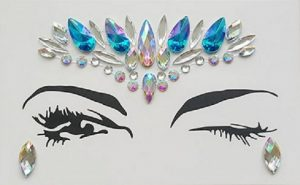 Diamante Rhinestone Face Jewels Glitter Stickers Blue Silver