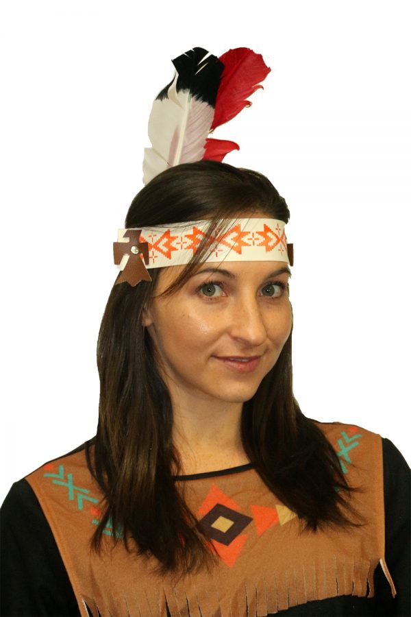 Indian Headband Womens Red and White Feather