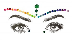 Diamante Rhinestone Face Jewels Glitter Stickers - Pride 1