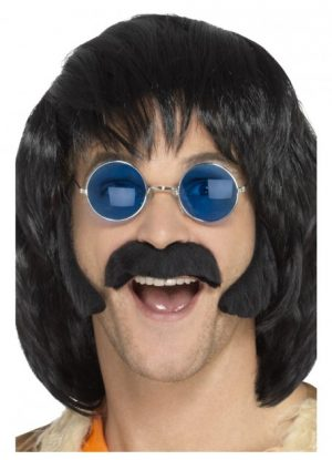 Beard and Moustache Grey - image Hippie-Disguise-Set-Black-300x415 on https://www.abracadabrafancydress.com.au