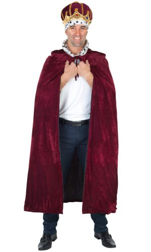 Batgirl Cape Adult - image Kings-Cape-Burgundy-with-Snow-Leopard-Collar-300x500 on https://www.abracadabrafancydress.com.au