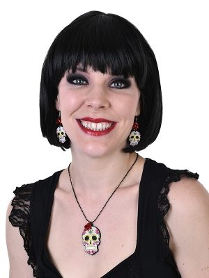 Beads Flapper - Silver 183 cm - image Day-of-the-Dead-Earrings-Necklace-Set-300x400 on https://www.abracadabrafancydress.com.au