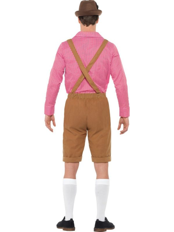 Brown Lederhosen Bavarian Beer Man German Oktoberfest Costume With Red Checked Shirt - image Mr-Bavarian-Costume-1-600x800 on https://www.abracadabrafancydress.com.au