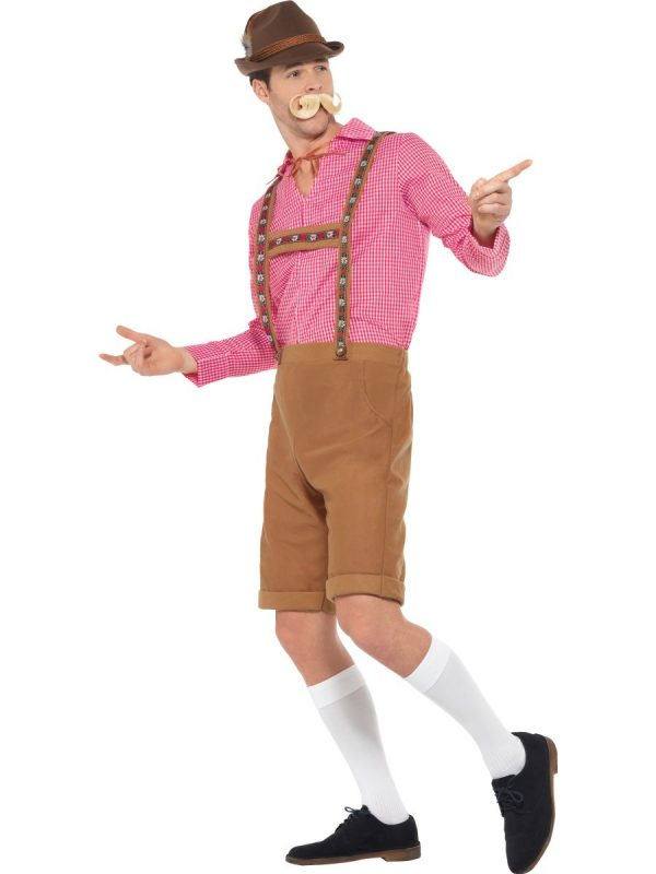 Brown Lederhosen Bavarian Beer Man German Oktoberfest Costume With Red Checked Shirt - image Mr-Bavarian-Costume-2-600x800 on https://www.abracadabrafancydress.com.au