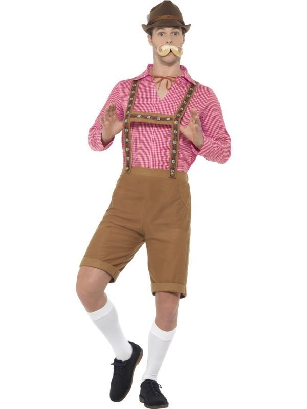 Brown Lederhosen Bavarian Beer Man German Oktoberfest Costume With Red Checked Shirt - image Mr-Bavarian-Costume-600x800 on https://www.abracadabrafancydress.com.au