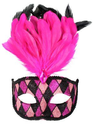 Fever Baroque Fantasy Eyemask, Black with Stick - image FRANCESCA-Pink-Black-with-feathers-Eye-Mask-300x400 on https://www.abracadabrafancydress.com.au
