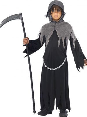 Child Blue Tailcoat Prince Ringmaster Magician Tails Jacket Dress Up Costume - image Grim-Reaper-Costume-Kid-300x400 on https://www.abracadabrafancydress.com.au