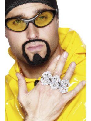3 in 1 Dollar Rapper Ring Pimp Gangster Ali G Dress Up Costume Jewellery Silver