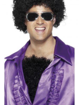70's Deluxe Realistic Black Hairy Chest Fancy Dress 1970s Macho Costume Disco