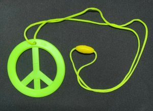 Yellow Hippie Peace Sign Pendant Necklace Hippy 60's Costume Jewellery Dress Up